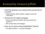 anonymity measure pitfalls