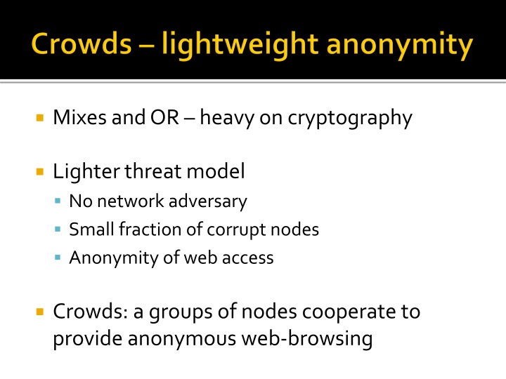 Crowds – lightweight anonymity