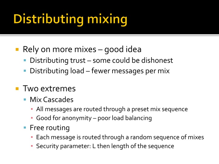 Distributing mixing
