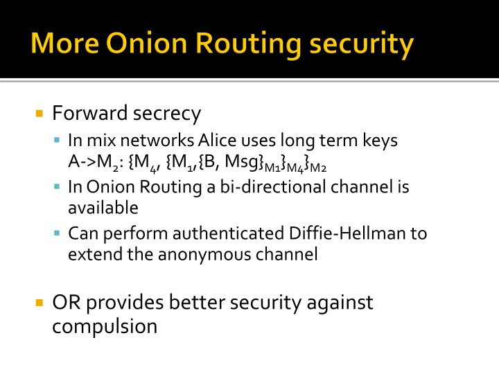 More Onion Routing security