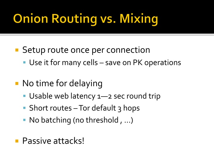 Onion Routing vs. Mixing