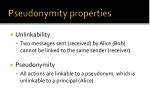 pseudonymity properties