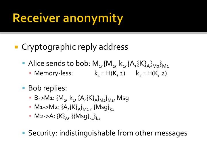Receiver anonymity