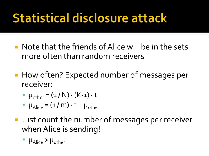 Statistical disclosure attack