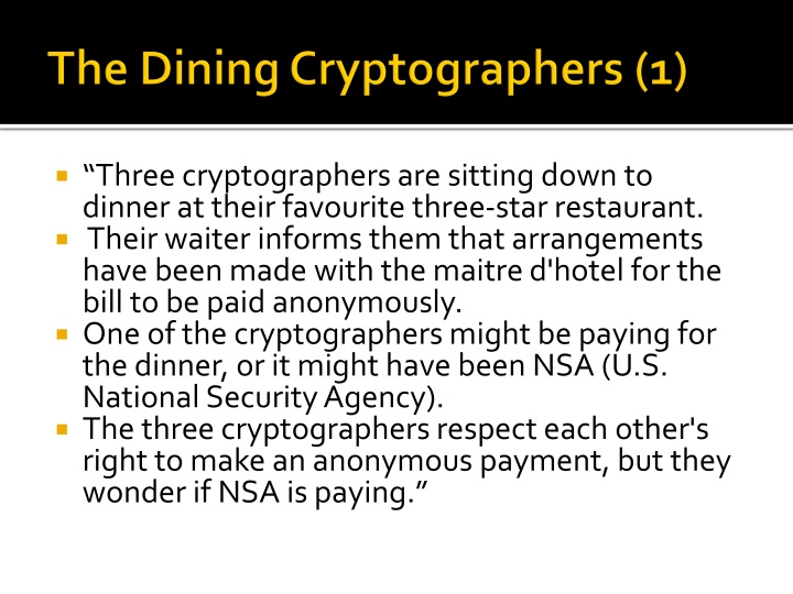The Dining Cryptographers (1)