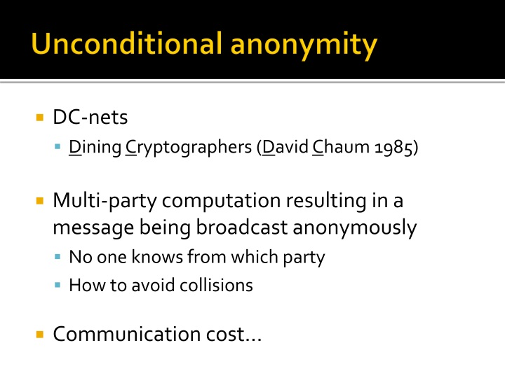 Unconditional anonymity
