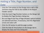 adding a title page number and date