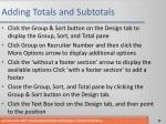 adding totals and subtotals