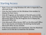 starting access