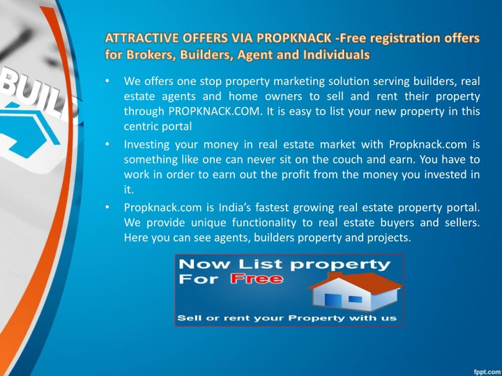 ATTRACTIVE OFFERS VIA PROPKNACK -Free registration offers for Brokers, Builders, Agent and Individuals