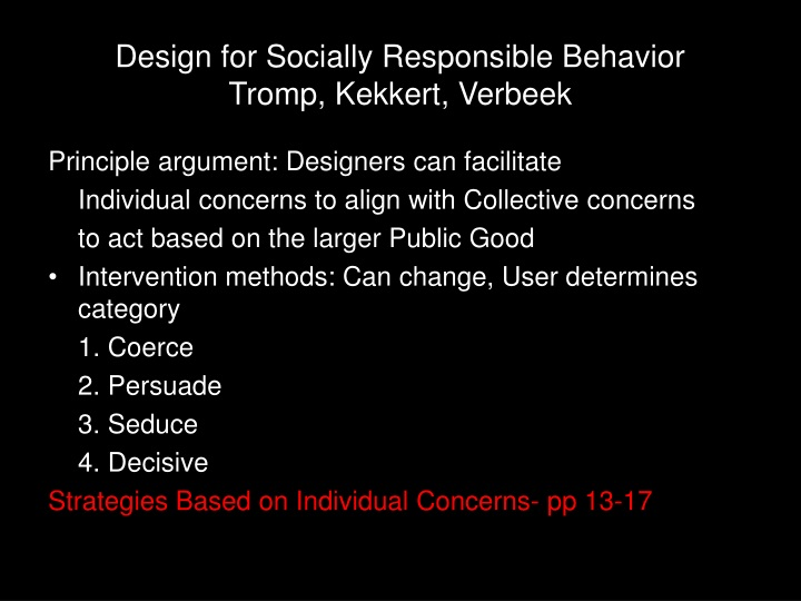 Design for socially responsible behavior tromp kekkert verbeek