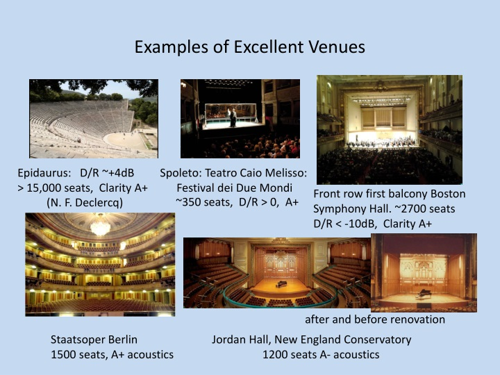 Examples of Excellent Venues