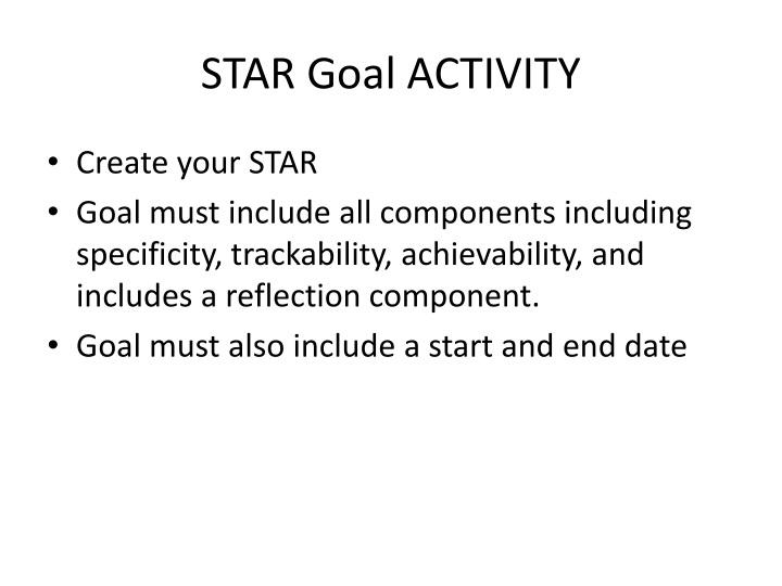 STAR Goal ACTIVITY
