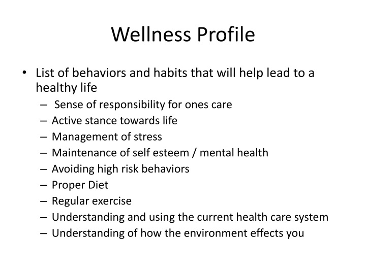 Wellness Profile