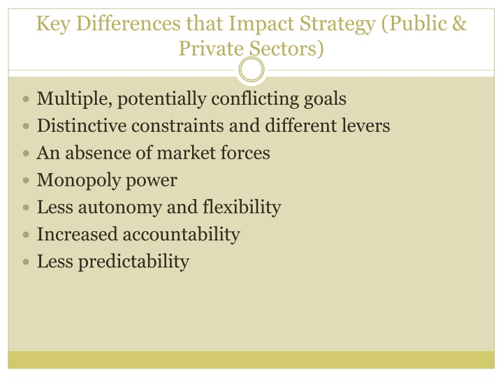 Key Differences that Impact Strategy (Public & Private Sectors)