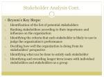 stakeholder analysis cont