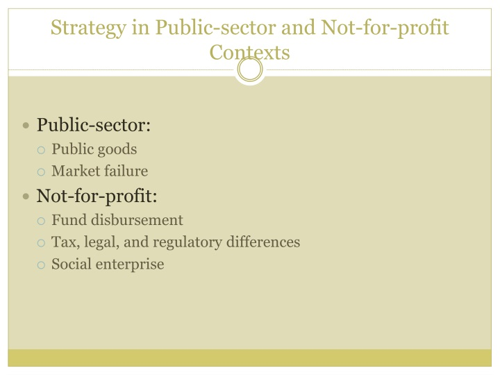 Strategy in Public-sector and Not-for-profit Contexts