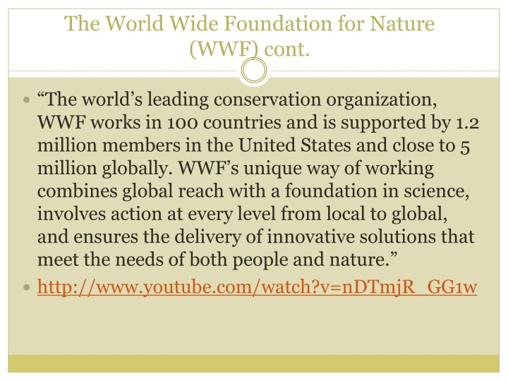The World Wide Foundation for Nature