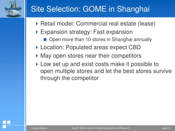 Site Selection: GOME in Shanghai