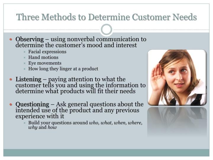 Three Methods to Determine Customer Needs