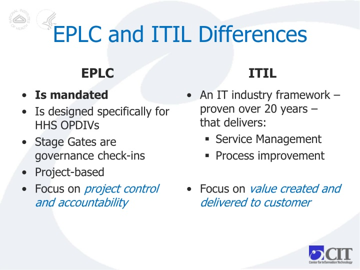 EPLC and ITIL Differences