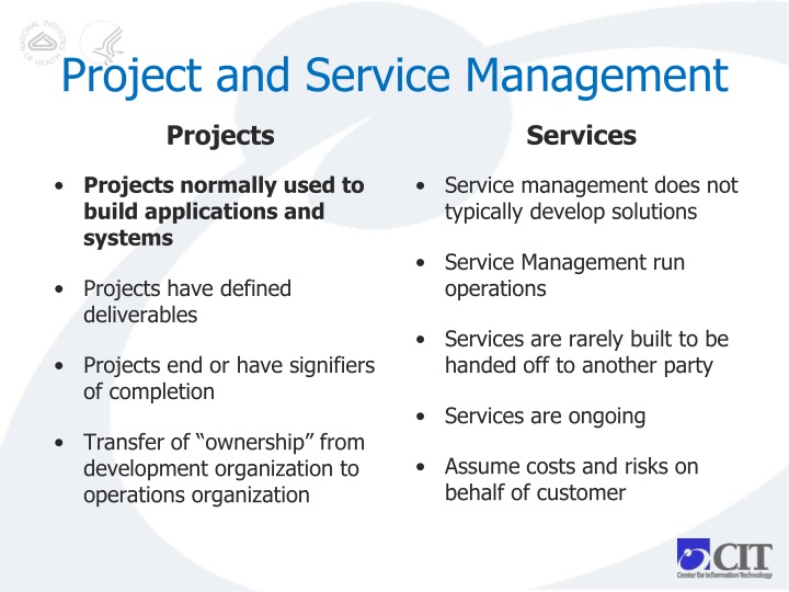 Project and Service Management