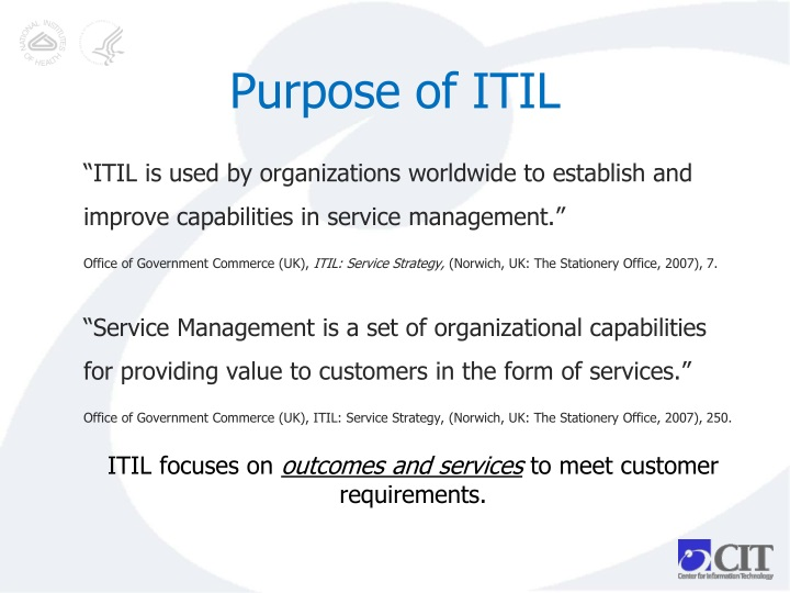 Purpose of ITIL