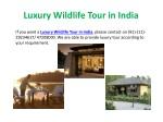 luxury wildlife tour in india