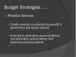 budget strategies