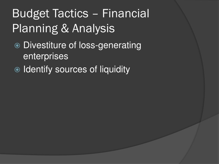 Budget Tactics – Financial Planning & Analysis