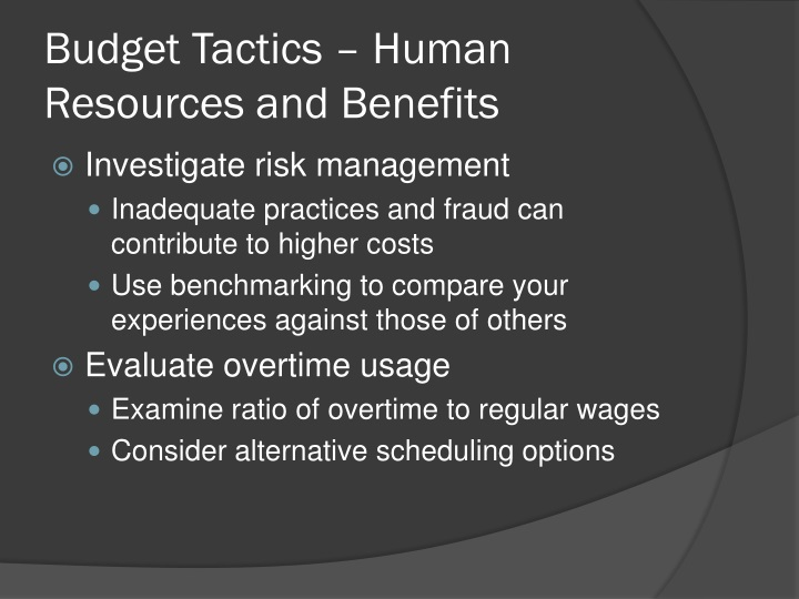 Budget Tactics – Human Resources and Benefits