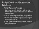 budget tactics management practices