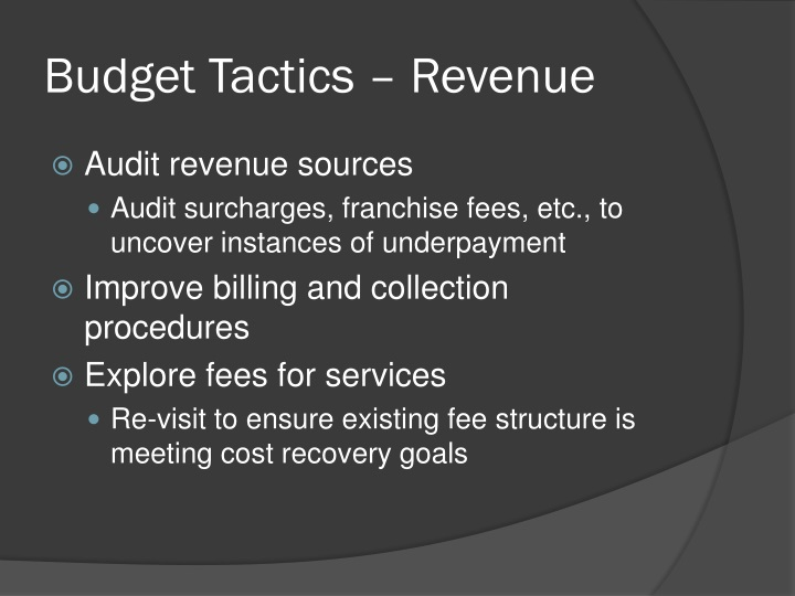 Budget Tactics – Revenue