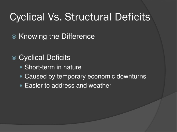Cyclical Vs. Structural Deficits
