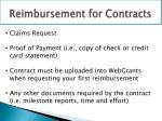 reimbursement for contracts