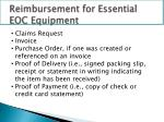 reimbursement for essential eoc equipment