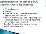 reimbursement for essential eoc supplies operating expenses