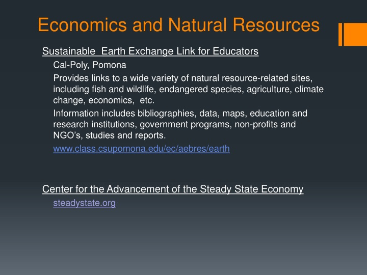 Economics and Natural Resources