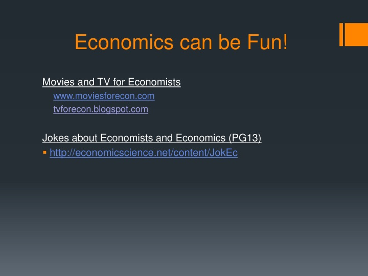 Economics can be Fun!