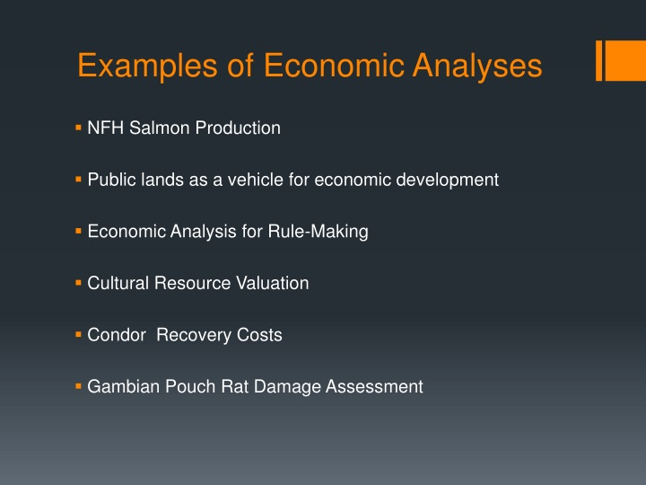 Examples of Economic Analyses