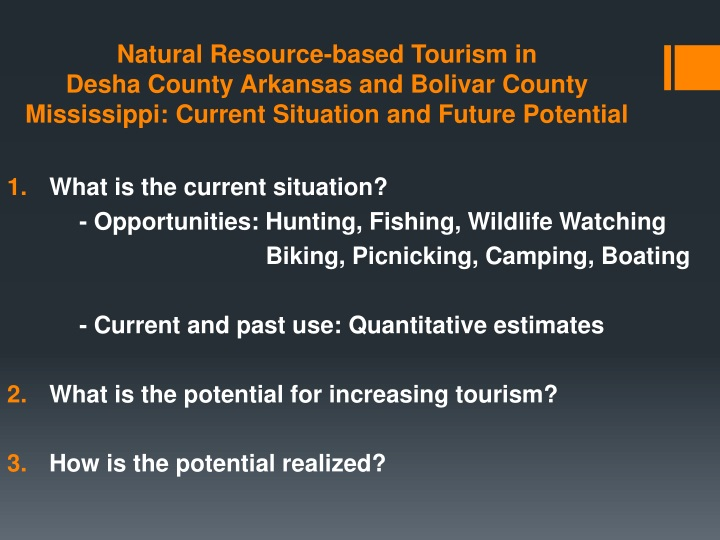 Natural Resource-based Tourism in