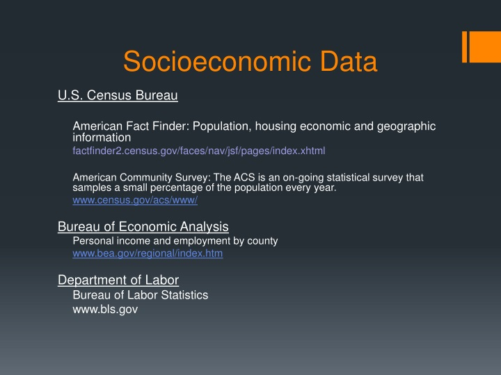 Socioeconomic Data