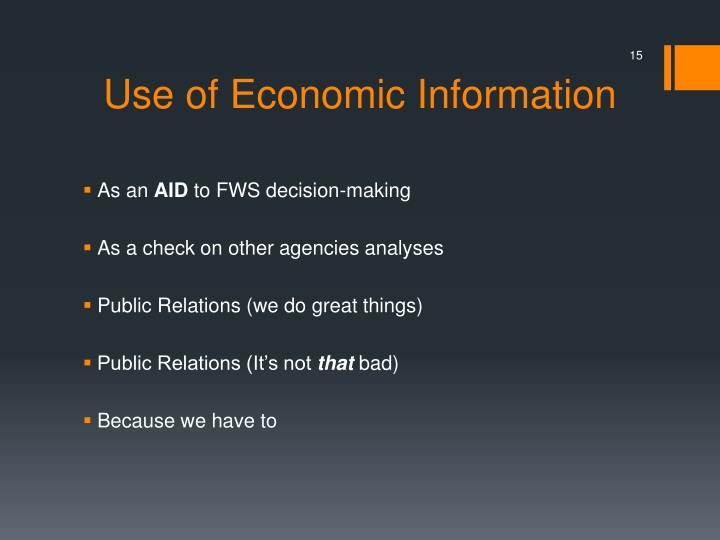 Use of Economic Information