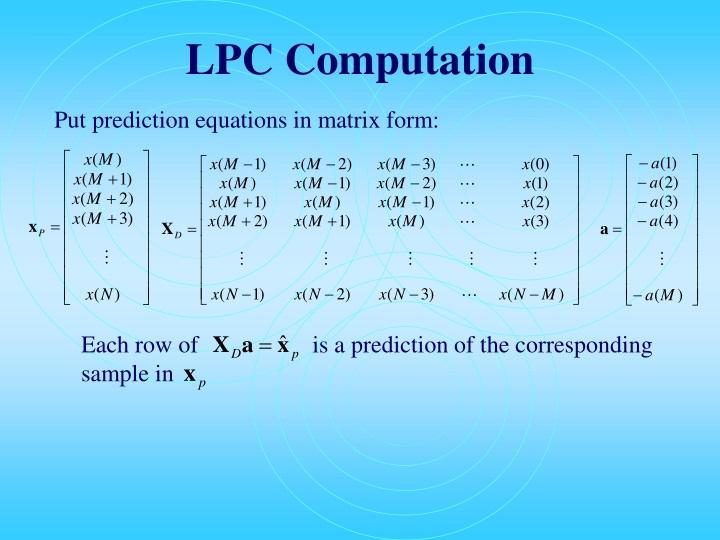 LPC Computation