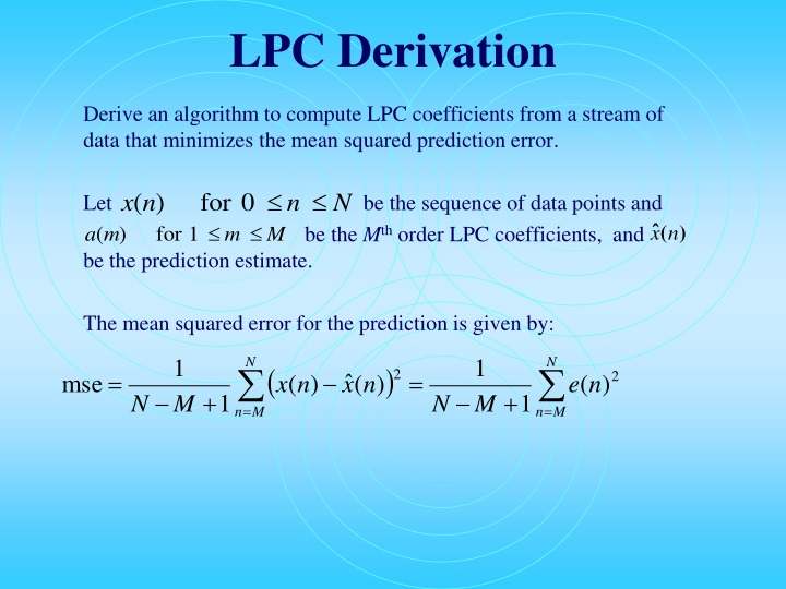 LPC Derivation