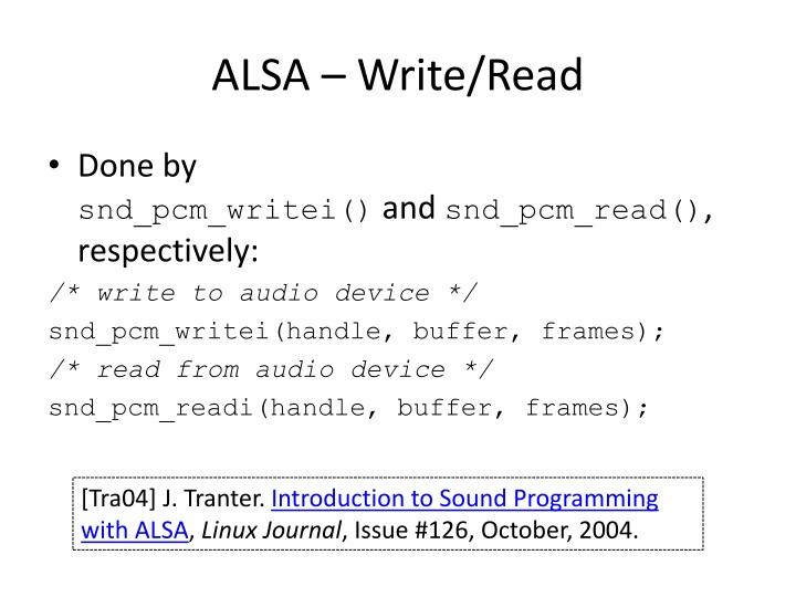 ALSA – Write/Read