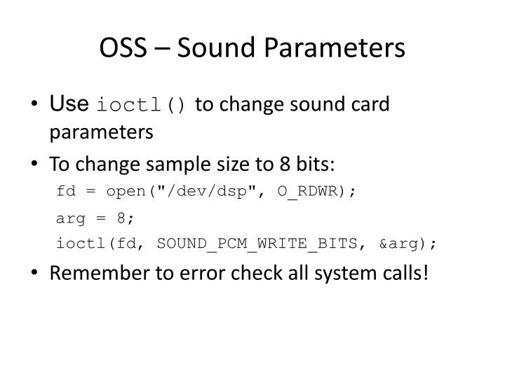 OSS – Sound Parameters