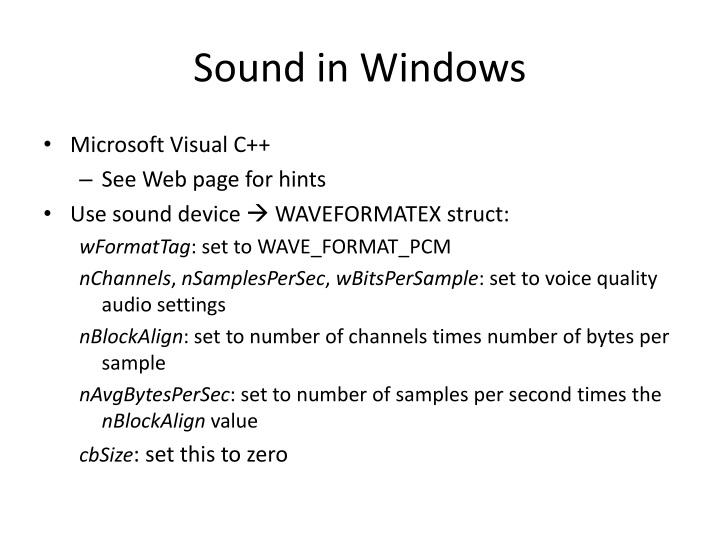 Sound in Windows