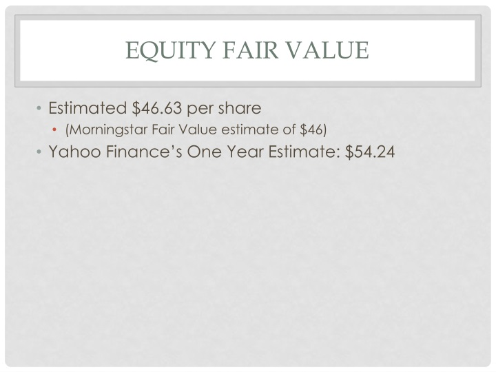 Equity Fair Value