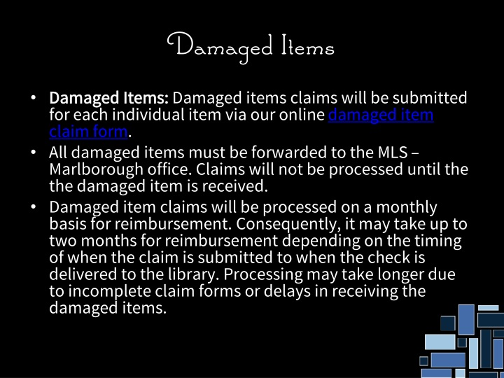 Damaged Items